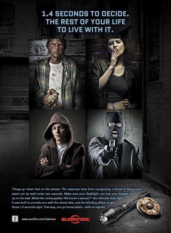 """Реклама фонарика 750-lumen Lawman™ из журнала """"Guns Magazine"""""""