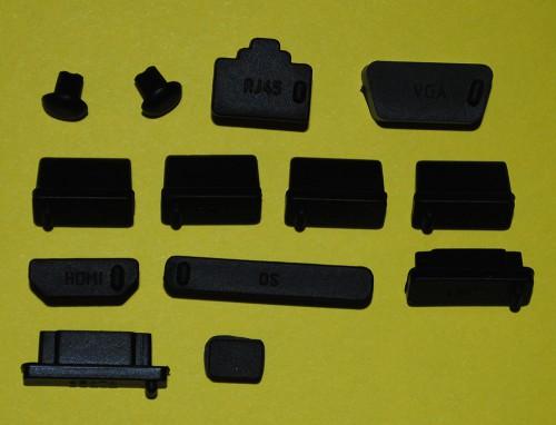 Notebook Dustproof Plug - Силиконовые противопылевые заглушки. Слева направо: аудио х 2, RJ45, VGA, USB x 4, HDMI, SD, eSATA x 2, IEEE 1394