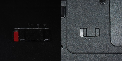 Lenovo G570. Еще одно незначительное отличие. Защелка аккумулятора. Слева старый корпус, справа новый.
