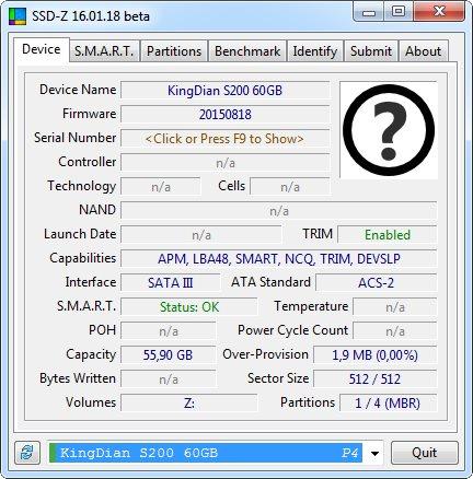 KingDian - Данные из SSD-Z